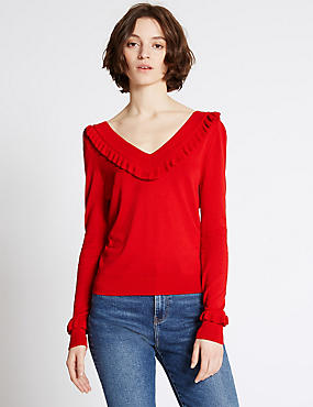 Frilled V-Neck Jumper, RED, catlanding