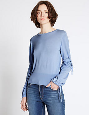 Drawstring Detail Round Neck Jumper, LIGHT BLUE, catlanding