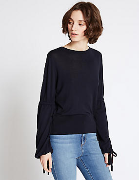 Drawstring Detail Round Neck Jumper, NAVY, catlanding