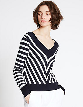 Striped V-Neck Jumper, NAVY MIX, catlanding