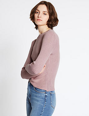Textured Front Tie Twist Round Neck Jumper, PINK MIX, catlanding