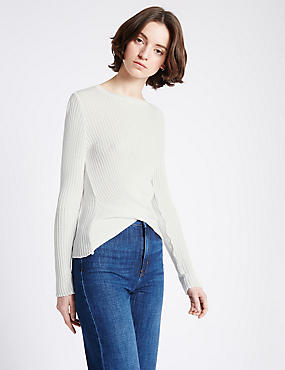 Textured Front Tie Twist Round Neck Jumper, IVORY MIX, catlanding