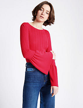 Round Neck Flared Sleeve Jumper, HOT PINK, catlanding
