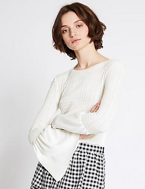 Round Neck Flared Sleeve Jumper, IVORY, catlanding