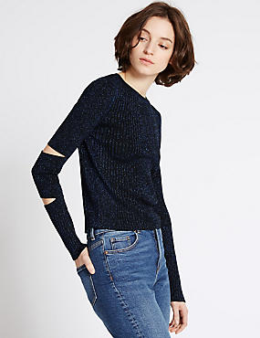 Textured Metallic Cut Out Sleeve Jumper, BLUE MIX, catlanding