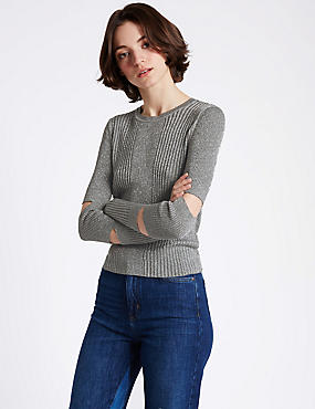 Textured Metallic Cut Out Sleeve Jumper, METALLIC, catlanding