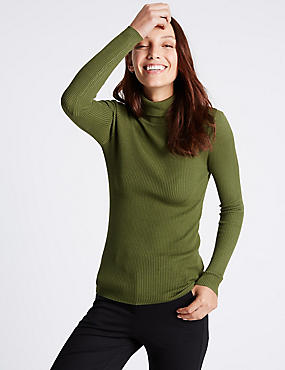 Ribbed Polo Neck Jumper, KHAKI, catlanding