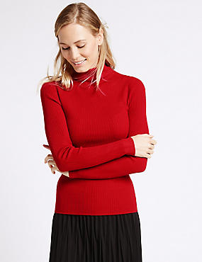 Ribbed Polo Neck Jumper, LACQUER RED, catlanding