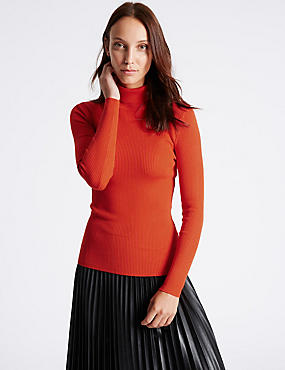Ribbed Polo Neck Jumper, DARK ORANGE, catlanding