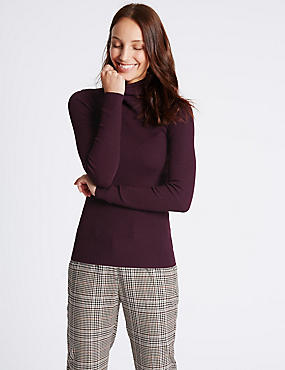 Ribbed Polo Neck Jumper, DARK GRAPE, catlanding