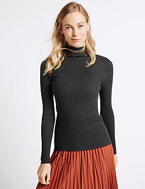 Ribbed Polo Neck Jumper, CHARCOAL, catlanding