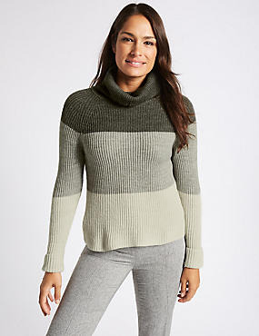 Wool Blend Colour Block Roll Neck Jumper, SILVER GREY, catlanding