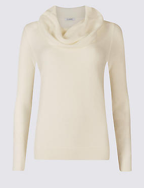 Cowl Neck Jumper, WINTER WHITE, catlanding