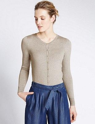 Tailored Fit Button Through Cardigan, GREY MARL, catlanding