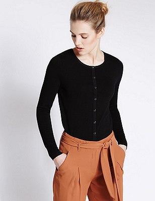 Tailored Fit Button Through Cardigan, BLACK, catlanding