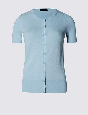 Button Through Cardigan, LIGHT BLUE, catlanding