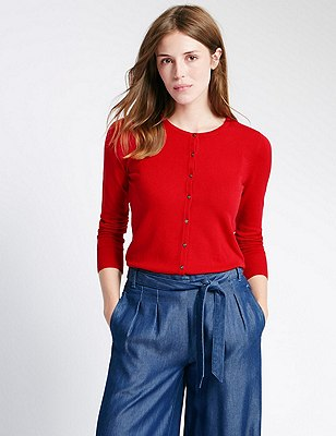 Button Through Tailored Fit Cardigan, RUBY RED, catlanding