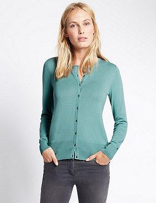 Button Through Tailored Fit Cardigan, SAGE GREEN, catlanding