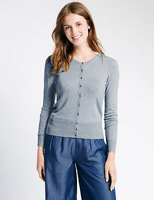 Button Through Tailored Fit Cardigan, SILVER GREY, catlanding