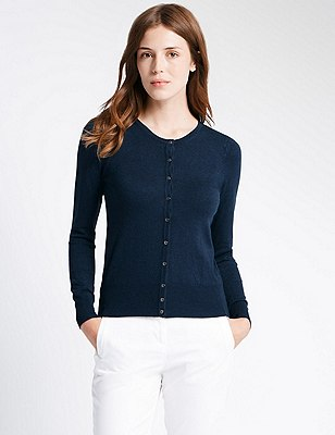 Button Through Tailored Fit Cardigan, INK, catlanding