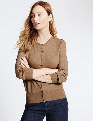 Button Through Tailored Fit Cardigan, DARK CAMEL, catlanding