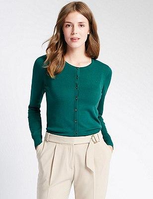 Button Through Tailored Fit Cardigan, DARK BOTTLE, catlanding