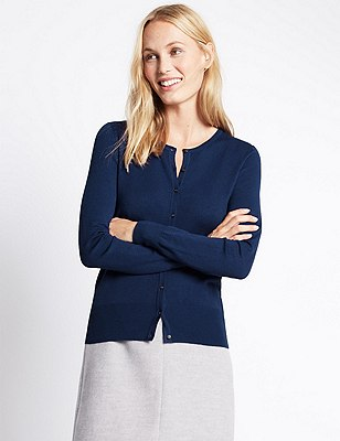 Button Through Tailored Fit Cardigan, ROYAL BLUE, catlanding