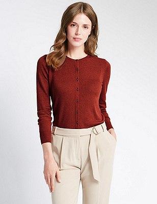Button Through Tailored Fit Cardigan, BURNT SIENNA, catlanding