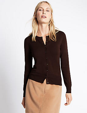 Button Through Cardigan, BITTER CHOCOLATE, catlanding
