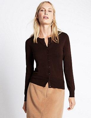 Button Through Tailored Fit Cardigan, BITTER CHOCOLATE, catlanding