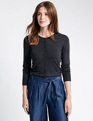 Button Through Tailored Fit Cardigan, CHARCOAL, catlanding