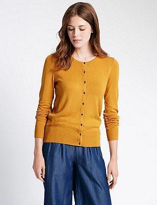 Button Through Tailored Fit Cardigan, MUSTARD, catlanding