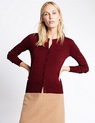 Button Through Tailored Fit Cardigan, BURGUNDY, catlanding