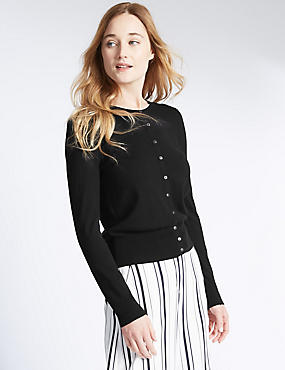 Ribbed Cardigan, BLACK, catlanding