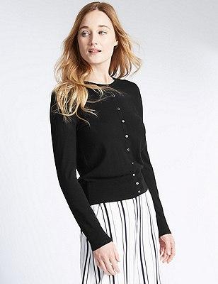 Button Through Tailored Fit Cardigan, BLACK, catlanding