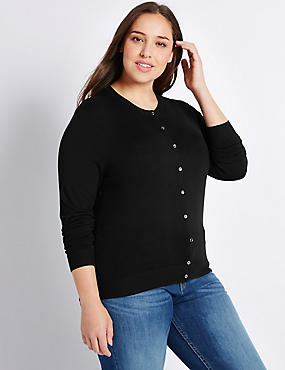 PLUS Round Neck Cardigan, BLACK, catlanding