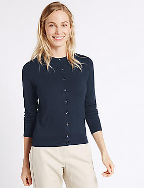 Ribbed Round Neck Cardigan, NAVY, catlanding