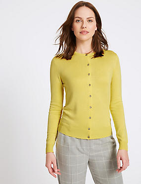 Ribbed Round Neck Cardigan, LEMON, catlanding