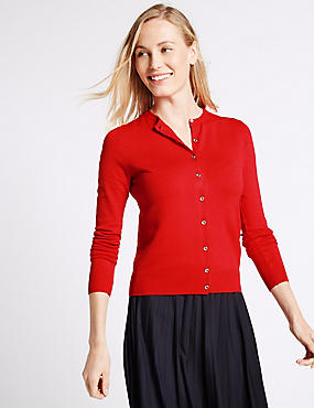 Ribbed Round Neck Cardigan, LACQUER RED, catlanding