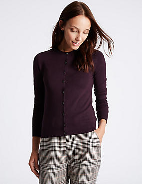 Ribbed Round Neck Cardigan, DARK GRAPE, catlanding