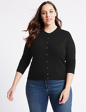 PLUS Ribbed Round Neck Cardigan, BLACK, catlanding