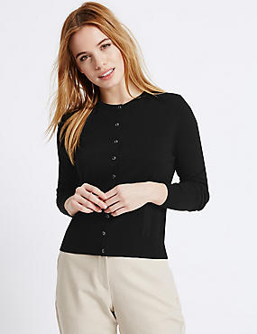 PETITE Button Through Cardigan, BLACK, catlanding