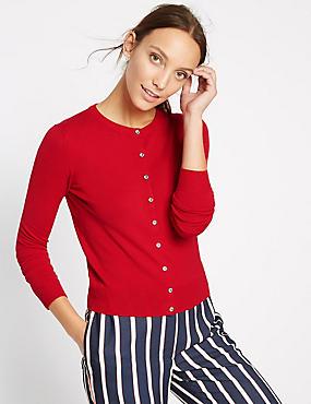 Ribbed Hem Round Neck Cardigan, BRIGHT RED, catlanding