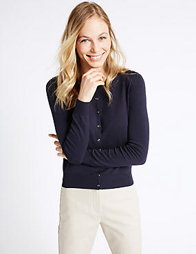 Ribbed Hem Round Neck Cardigan, NAVY, catlanding