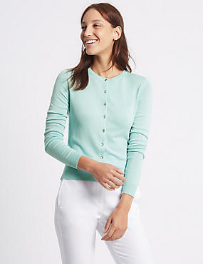 Ribbed Hem Round Neck Cardigan, LIGHT TURQUOISE, catlanding