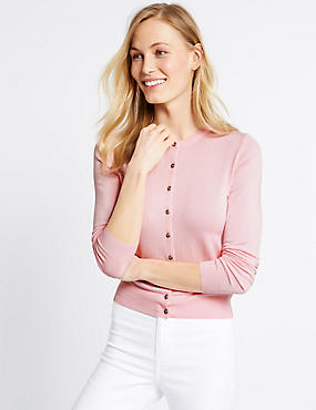 Ribbed Hem Round Neck Cardigan, PALE ROSE, catlanding