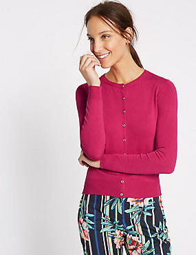Ribbed Hem Round Neck Cardigan, HOT PINK, catlanding