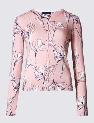 "Кардиган ""Абстрактные цветы"" на пуговицах M&S Collection T385664"