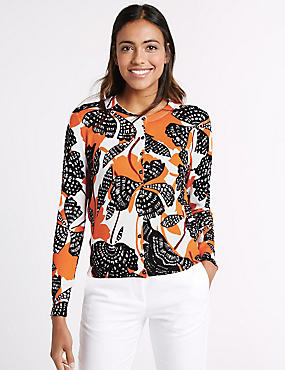 Floral Print Round Neck Cardigan, ORANGE MIX, catlanding
