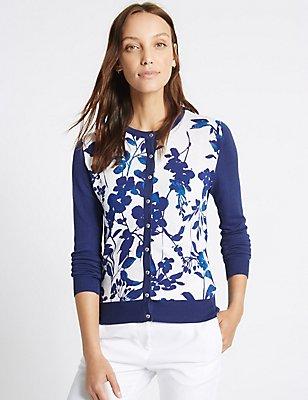 Floral Print Round Neck Cardigan, BLUE MIX, catlanding